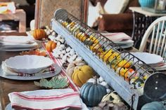 Chicken Feeder Fall Tablescape