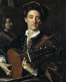 Painter David Hoyer playing a lute, painted by Jan Kupetzky, ca. 1711