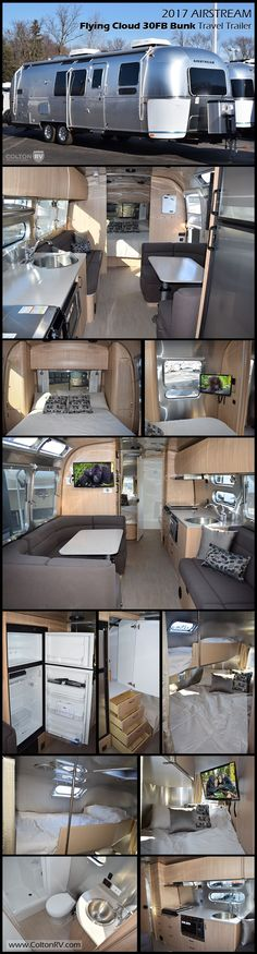 An Airstream with bunks! The AIRSTREAM FLYING CLOUD 30FB BUNK Travel Trailer offers a front and rear sleeping space with a queen bedroom up front and a rear double bed with single bunk above! Plus the dinette and lounge both convert into beds. The open floor space would be comfortable for a family and the large kitchen is perfect for entertaining.