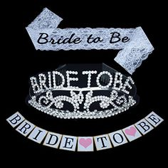 Bride to be Decoration Set for Bachelorette Party Supply Satin SashGlitter Tiara and Wedding Banner ** Read more at the image link. (This is an affiliate link) Bachelorette Outfits, Bachelorette Party Supplies, Bride To Be Banner, Bride To Be Sash, Bride To Be Decorations, Glitter Wedding, Festival Party, Bridal Shower, Satin Sash