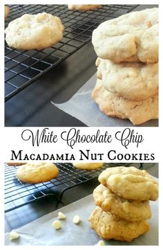 White Chocolate Chip Macadamia Nut Cookies - soft, sweet, and delicious. These cookies make the best dessert! - by Mama Maggie's Kitchen