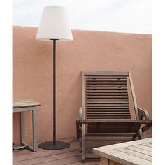Lanterne d\'extérieur LED rechargeable & solaire Teck/Inox H36,5cm ...
