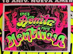 "Serigrafia 50 x 70 cm "" ERES BIEN BONITA PERO MENTIROSA Del cancionero popular, un tema de los Mirlos. DE RUTA MARE  https://www.facebook.com/dRutamadre"