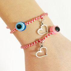 greek martakia bracelets greek jewelry greek by christelboutique Evil Eye Jewelry, Evil Eye Bracelet, Greek Evil Eye, Greek Jewelry, Gold Cross, Crochet Accessories, Cross Pendant, March, Bracelets