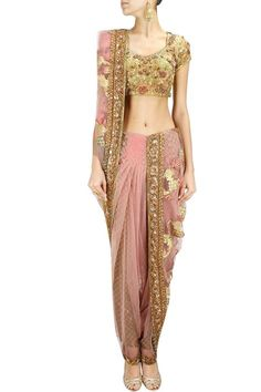Light pink and green brocade dhoti sari set by Ashima Leena.