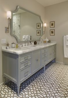 cabinet look, classic furniture with modern handles. Taller cabinet, but prefer the vessel sink