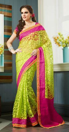 Pretty Green Saree
