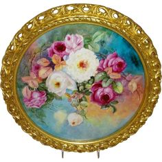 Magnificent 14.5 inch Framed Charger Plaque Hand Painted Roses