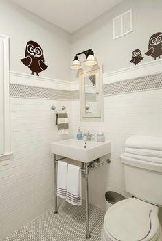 Penny Round Tile Border Seeing Stripes: Bathroom Tile Inspiration - Gather & Build