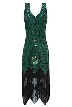 Metme Women's 1920s Vintage Flapper Fringe Beaded Great Gatsby Party Dress: Clothing