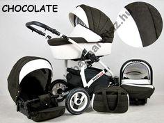 White Lux 3in1 babakocsi - Chocolate, White Lux 3in1 multifunkciós babakocsi mózeskosárral, sportrésszel, bébihordozóval. Divatos babakocsi fehér vázzal és fehér textilbőr betétekkel., Zsebi Babaáruház - Babakocsik, bababútorok, autósülések, etetőszékek, utazóágyak, babaágyneműk széles választéka