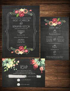 Invitación de RSVP Info Pizarra Floral por KristianDianeDesign