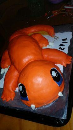 Charmander cake ! pokemon cake that I did for my first customer!  Follow me @cannabiqueen charmander pokemom fondant cake