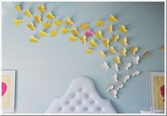 Living with Punks: TUTORIAL: Come fly with me gorgeous butterfly wall decoration In flight, nursery genius