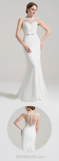 Trumpet/Mermaid Scoop Neck Sweep Train Chiffon Lace Wedding Dress With Bow(s)   #jjshouse