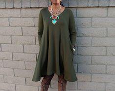 V Neck Midi Dress, Ponte Knit Three Quarter Sleeve Swing Dress, High Low Knit Dress ~ Side Seam Pockets ~ Olive ~ All Sizes