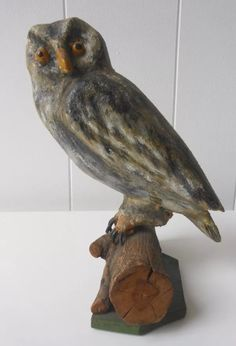 Dated 1931, carved wooden folk art owl. Collection of Stephen Parfitt, Springfield Illinois.