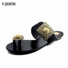 [ 18% OFF ] Flip Flops Women Shoes Woman Rhinestone Leather 2016 Ladies Wedges Black Sandals Flat Slipper Shoes Women Designer Luxury Summer