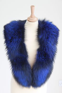 Detachable Electric blue and black large genuine fox fur collar