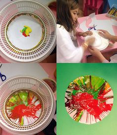 spin art with a lettuce spinner