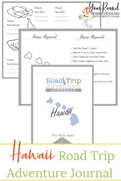 Keep your kids busy as you travel through or to 'The Aloha State' using this Hawaii Road Trip Journal along the way! #Hawaii #RoadTrip #RoadTripJournal #Printable #Homeschool #Homeschooling #YearRoundHomeschooling #Geography Trip Journal, All About Hawaii, Map Activities, Road Trip Adventure, Business For Kids, Writing Prompts, Geography, Trip Planning, Booklet