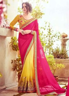 Bewitching Pink And Yellow Half And Half Bemberg Georgette Lace Border Stone Work Party Wear Sarees http://www.angelnx.com/