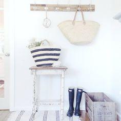 Entry Setup -- love the stripes!  -- A Few Beach Cottage Coastal Vintage Treasures for Sale