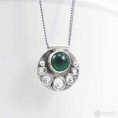 Cute, little pendant wih green anyx. Handmade jewelry by Amade Studio. --- #amadestudio #pendant #handmade #handmadejewelry #artisanjewelry #tinyjewelry #littlecraft #silvercraft #silverart #silverjewelry