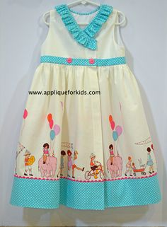 Fun wrap around dress made with Michael Miller's Children at Play fabric