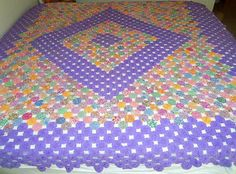 SALE Vintage Yo Yo Quilt Purple 90 x 102 by CapeCodLaurieDesigns, $199.99