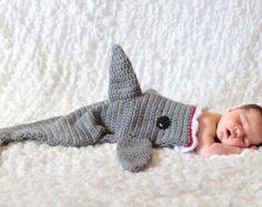 Tiburón manta capullo, ganchillo manta de tiburón, tiburón bebé capullo