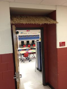 Learn how to place a tiki roof over your classroom door! Easy and fun! :)