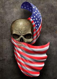 Skull+Flag Tattoo by Frank-Walls on DeviantArt Skull Flag, Skull Pictures, Skull Artwork, Skull Wallpaper, Skull Tattoos, Tatoos, Skull Design, Grim Reaper, Skull And Bones