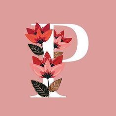 """Venice Floral Monogram P"" by werlangpaper Graffiti Lettering, Lettering Design, Alphabet Letters Design, Yarn Wall Art, Alphabet Wallpaper, Digital Art Girl, Art Drawings, Illustration Art, Sketches"