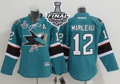 Sharks #12 Patrick Marleau Green 2016 Stanley Cup Final Patch Stitched Youth NHL Jersey