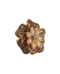 Rhinestoned Flower Ring