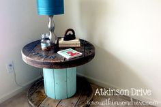 Electrical Spool Table .. I just picked one up for free! :) ... Should I paint the middle or  stain the entire thing?