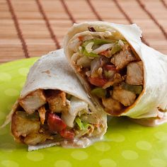 BBQ CHICKEN WRAPS. I could use the BBQ chicken from the crockpot recipe for this. And I would substitute spinach leaves for the coleslaw mix.