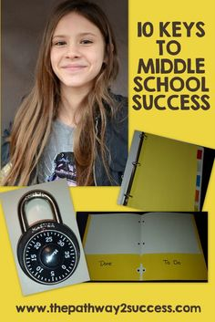 These top 10 middle school keys to success include a free set of printable worksheets and task cards to help young adults start the middle school years off Middle School Hacks, Middle School Counseling, Middle School Teachers, School Counselor, School Ideas, High School, School Projects, The Middle, Planners