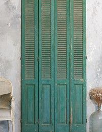 Vintage French Wood Painted Green Architectural Shutters-antique, shabby, aqua,blue,patina,decorative
