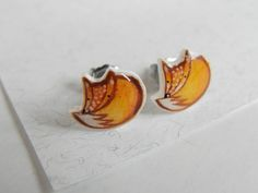 Fox earrings stud cute handmade jewel by ireneagh on Etsy, €6.68