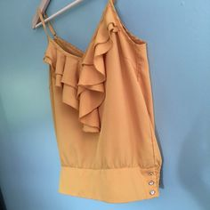 """$10 SALE // Mustard Yellow Ruffle Top Mustard Yellow Ruffle Top // sz M // Charlotte Russe brand // 100% polyester // 3 decorative jewel buttons on side // adjustable spaghetti straps // v-front and v-back // 18.5"""" across armpits / 24.5"""" length from top of straps // non-smoking home // not my size/ Can't model // 20% off 3+ Bundles // Same or Next Day Shipping! // offers welcome// 5.21.17 No trades Charlotte Russe Tops Blouses"""