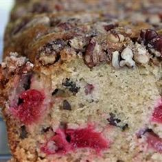 """Rhubarb Bread I   """"Surely one of the rites of spring is baking with rhubarb. The cherry-red tart stalks, combined here with brown sugar and nuts, make a beautiful bread that is fruity, tangy and terrific."""""""