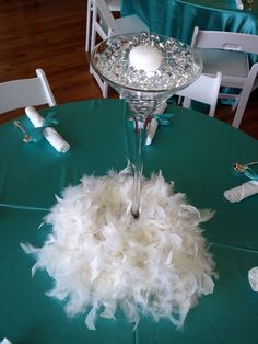 Martini Glass & Feathers Centerpiece Tiffany Blue theme www. Great Gatsby Party, Gatsby Theme, Gatsby Wedding, Our Wedding, Wedding Ideas, Feather Centerpieces, Glass Centerpieces, Wedding Centerpieces, Wedding Decorations