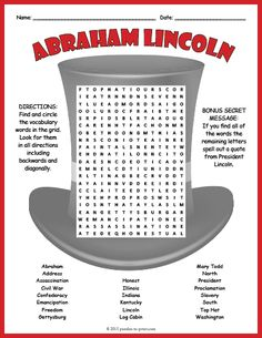 Abraham Lincoln Word Search Puzzle Worksheet Activity Gettysburg Address, Number Puzzles, Words To Use, Vocabulary Words, Your Teacher, 5th Grades, Learning Resources, Abraham Lincoln, Spelling