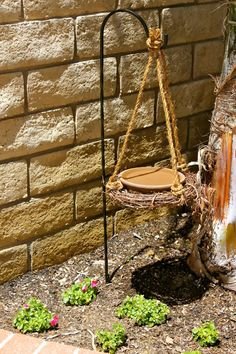 "My DIY bird bath ... sits next to our bird house so its our own little ""Birdie Bath and Breakfast"""