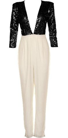 Loving Life Jumpsuit: Features a sparkling black sequin bodice, plunging V-neckline framed by snug 3/4-length sleeves, elegant ivory high-waisted pants, and a centered rear zip closure to finish.