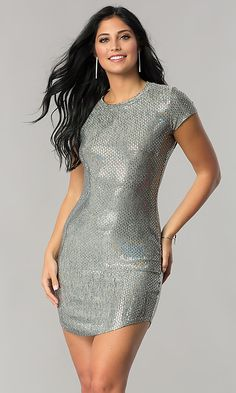 Image of sleeved sequin party dress with short shirt-tail hem. Sexy Outfits, Sexy Dresses, Short Dresses, Homecoming Dresses Under 100, Sequin Party Dress, Short Shirts, Prom Girl, Bodycon Dress, Fashion Design