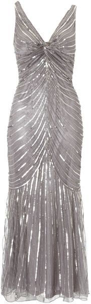 If only I was a size 2 and had some place to be...Linea Silver Beaded Sequin Chevron Dress