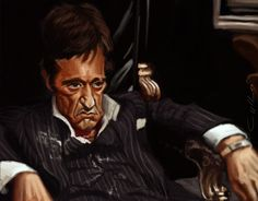 digital caricature of al pacino as tony montana. done in photoshop. Al Pacino, Day Of The Tentacle, Eddie The Head, Celebrity Caricatures, Images And Words, Amy Winehouse, Movies Showing, Funny Faces, Say Hello